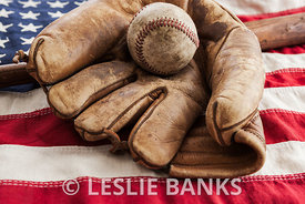 Vintage Baseball on an American Flag