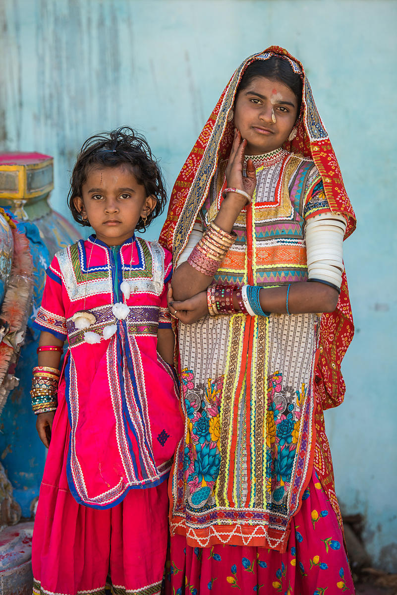 This portrait of two young girls was shot in Bhuj, Gujarat