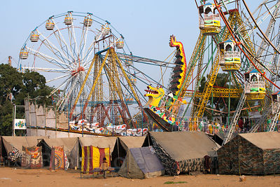Carnival rides during the Pushkar Camel Mela, Pushkar, Rajasthan, India.
