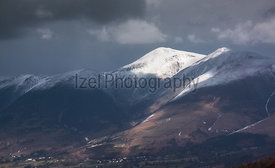 The summit of Skiddaw in Winter as a snow storm approaches.