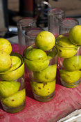 India - Delhi - Lemons in a glass on a stall selling cold water in Chadni Chowk