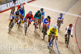 Women's Omnium Scratch Race. Track Day 3, Toronto 2015 Pan Am Games, Milton Pan Am/Parapan Am Velodrome, Milton, On; July 18,...