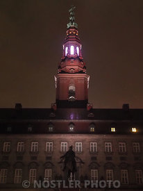 Illumination of the tower of Christiansborg Palace