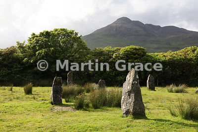 Lochbuie Stone Circle with Ben Buie behind, Lochbuie, Isle of Mull, Argyll & Bute, Scotland
