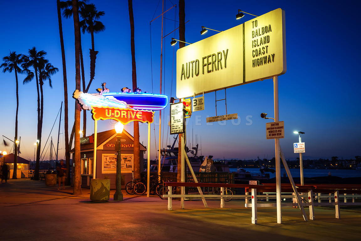 Balboa Island Auto Ferry Sign at Sunset