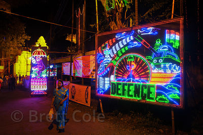 LED board with a patriotic military motif on display during the Durga Puja festival, Jodhpur Park, Kolkata, India