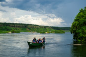 Tourist boat at Wildwaters Lodge on the Upper Nile, Kalagala, Uganda