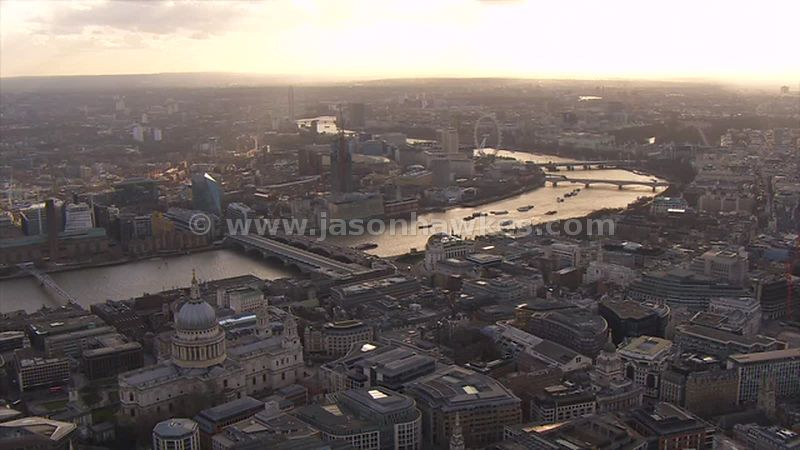 Aerial footage of St Paul's and Blackfriars at sunset, London