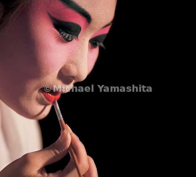 The actors and actresses of the Opera are responsible for their own make-up, which can take hours to apply.