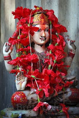 Idols adorned in flowers at an altar in Lake Gardens, Kolkata, India.