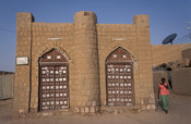 Traditional mud house with Moroccan style doors, Timbuktu, Mali