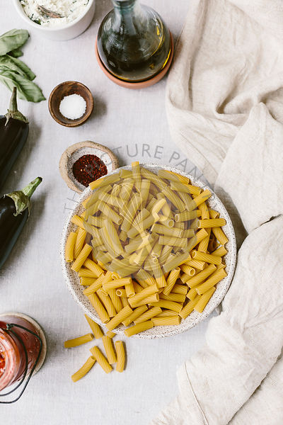 Bowl of raw dried pasta
