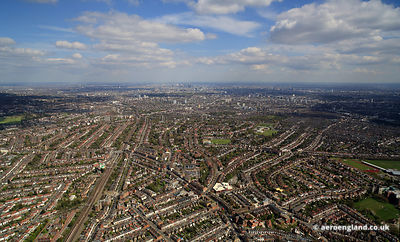 aerial photograph of  Willesden London, England UK  showing High Rd, Brent Park, London NW10 2SL, Brondesbury Park, London NW...