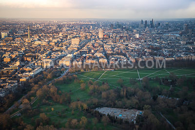 Aerial view of London, Park Lane, Bayswater Road and Marble Arch.