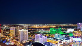 Las Vegas Strip and Airport from Above at Night