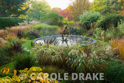 Dragon Garden with beds full of grasses including tall miscanthus, Calamagrostis 'Karl Foerster' and Phormium tenax atropurpu...
