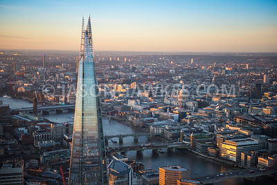 Aerial view of London, London Bridge with Cannon Street Railways Bridge and Southwark Bridge with The Shard.