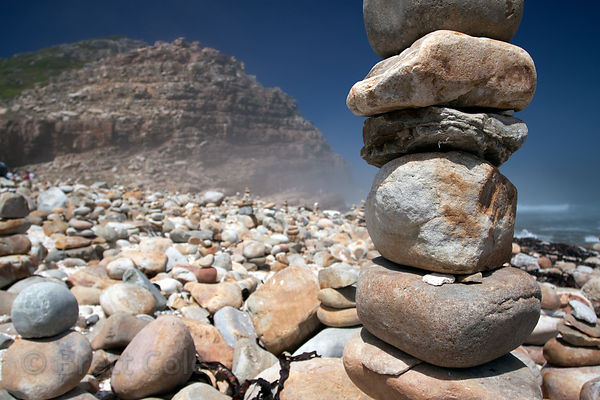 Cairns on the beach at Cape of Good Hope, South Africa