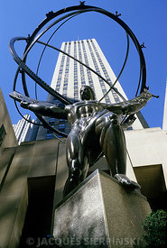 USA, New York City, Rockefeller Center, statue d'Atlas