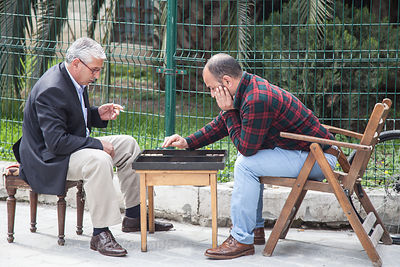 Men playing backgammon, Istanbul