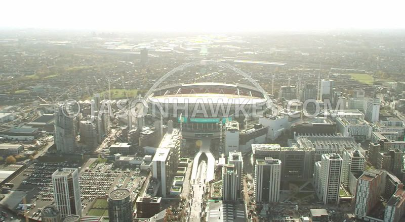 Aerial footage of Wembley Park and Wembley Stadium, London.