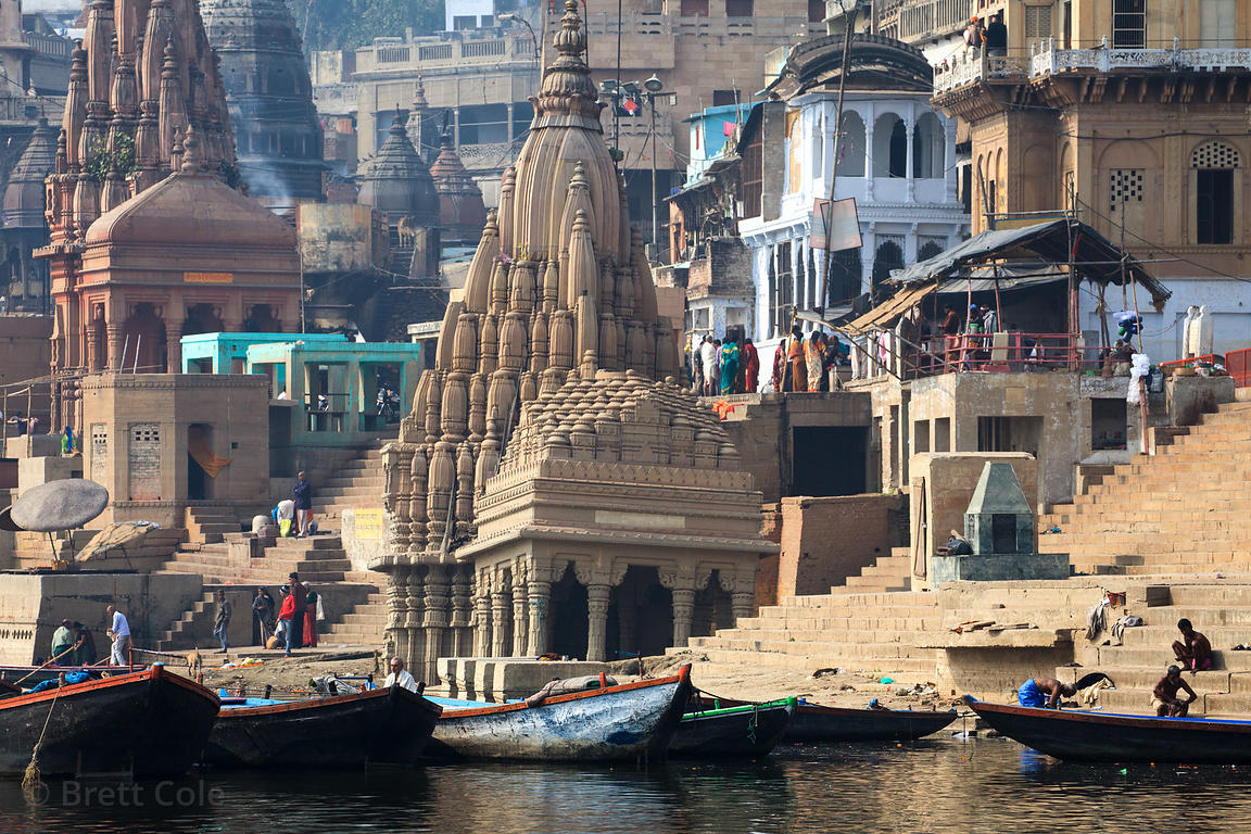 Sinking temple on the Ganges River near Scindia Ghat, Varanasi, India.