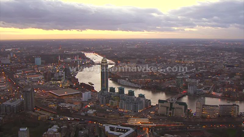 Aerial footage of Nine Elms at dusk, London