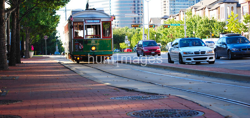 Trolley car in Uptown area of Dallas, Texas