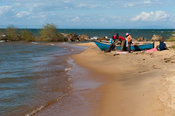 Fishing boat on the beach on Lake Malawi, Nkhotakota, Malawi