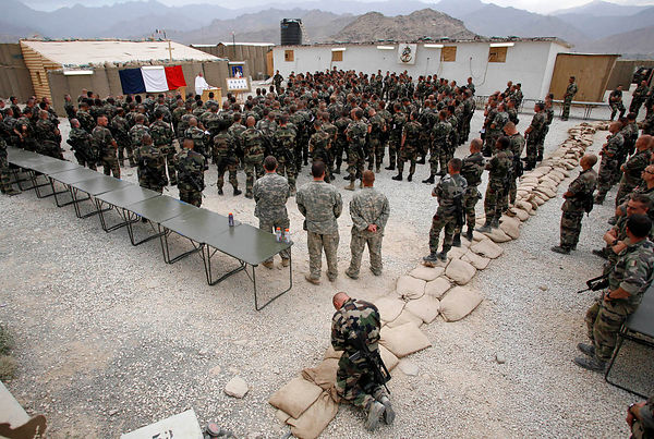2008. Advanced Base of Nijrab, Kapisa province. Religious Ceremony for St. Michael (patron saint of paratroopers). The chapla...