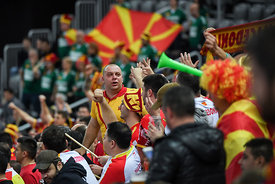Supporters of team Macedonia during the EHF EURO Croatia 2018 - Preliminary round -  Group C - Germany vs Montenegro in Arena...