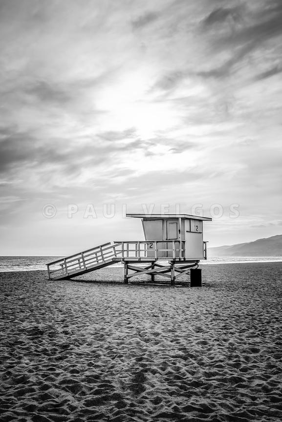 Malibu Lifeguard Tower #2 Black and White Photo