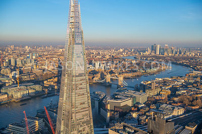 Aerial view of the Shard, London Bridge, Tower ridge and River Thames, London.