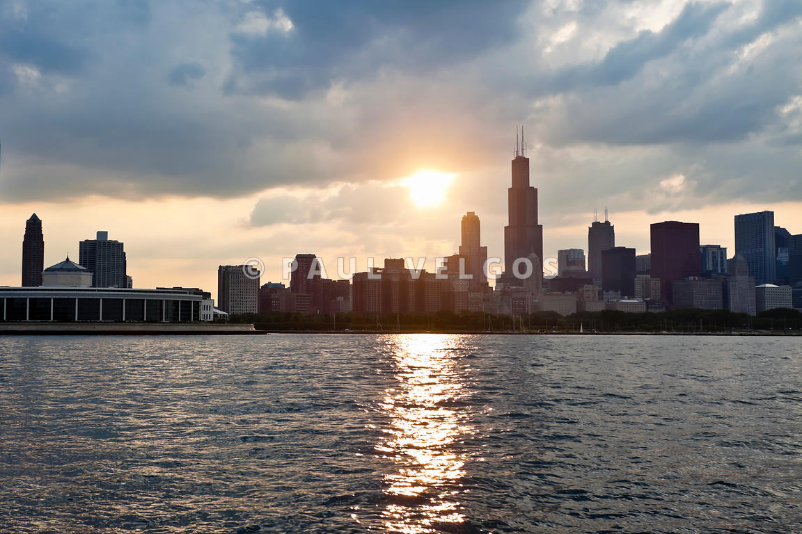 Downtown Chicago Skyline Sunset