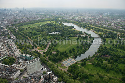 Aerial view of the Serpentine, Hyde Park, London