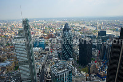 Aerial view over the City, London