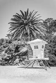 Laguna Beach Lifeguard Tower Black and White Picture