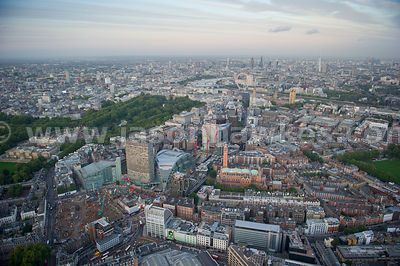 Aerial view of Victoria at dusk, London