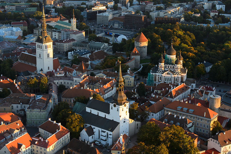 Aerial view of Tallinn Old Town, from the left St. Nicholas Church, St. Mary's Cathedral in the middle and Alexander Nevsky C...
