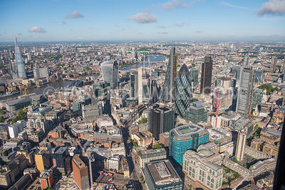 Aerial view of the River Thames and  London Financial Buildings
