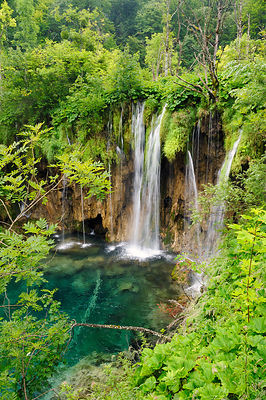 Overview of travertine waterfalls surrounded by lush summer vegetation at Plitvice Lakes National Park, Croatia, July 2010.
