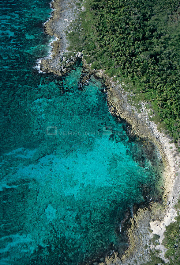 Aerial view of coast of the Caribbean Sea, Mesoamerican Reef System, Mexico, January