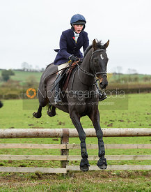 Sophie Walker jumping a hunt jump on Lambing's. The Cottesmore Hunt at Somerby