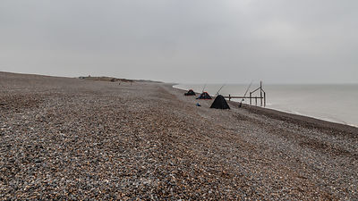 Fishing from Weybourne beach