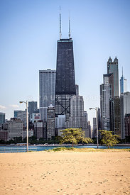 North Avenue Beach with Chicago Skyline
