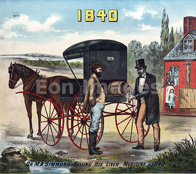 Doctor sells patent medicine from horse-drawn buggy