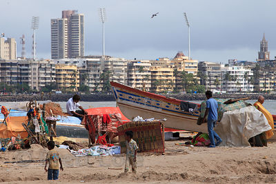 Fishing boats on Chowpatty Beach, Mumbai, India.