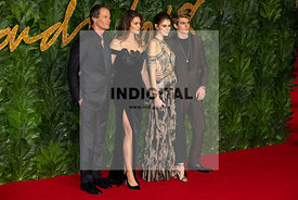 Rande Gerber, Cindy Crawford, Kaia Gerber and Presley Gerber attend The Fashion Awards 2018 at The Royal Albert Hall. London,...