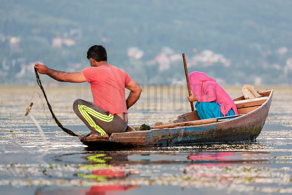 Couple Fishing on Dal Lake