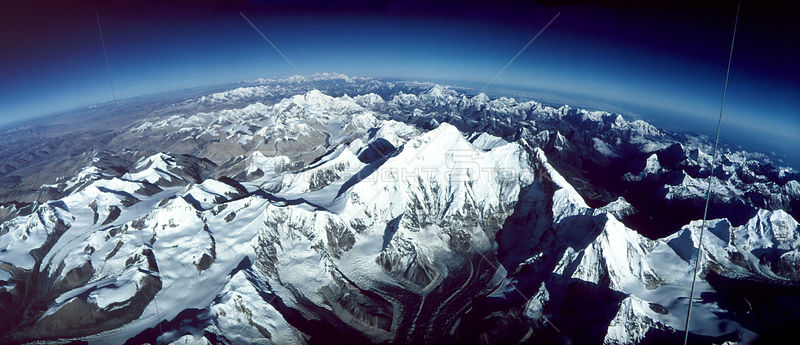 Aerial of Mt Everest from Tibet looking to Nepal. Kungchung face Himalayas. From hot air balloon